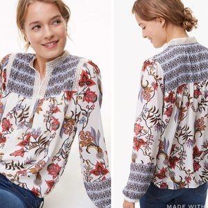 Ann Taylor LOFT Floral Mosaic Blouse Long Sleeve